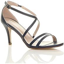 Femmes talon moyen haut lanières croisé mariage bal sandales chaussures taille