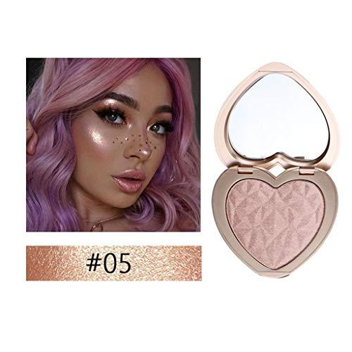 Gaddrt Herzform schimmern gepresstes Gesicht Textmarker Pulver Aufhellung Makeup Power Markieren Sie Pulver (E)