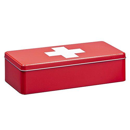 Zeller 19207 Aufbewahrungs-Box First Aid, Metall, ca. 32 x 15,5 x 8 cm