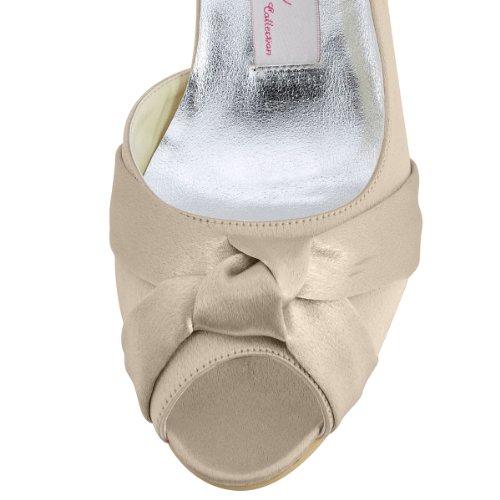 ElegantPark 1201D Donna Tacco Basso Partito Pompe Peep Toe Nodo Satin Scarpe Da Sposa Champagne