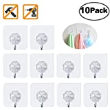 Fotosnow Self Adhesive Hooks Anti Skid Traceless Heavy Duty Wall Sticky Hooks 9kg (Max) 180 Degree Rotating Without Nails, Reusable Waterproof and Oilproof for Kitchen Bathroom Office Closet10 Packs