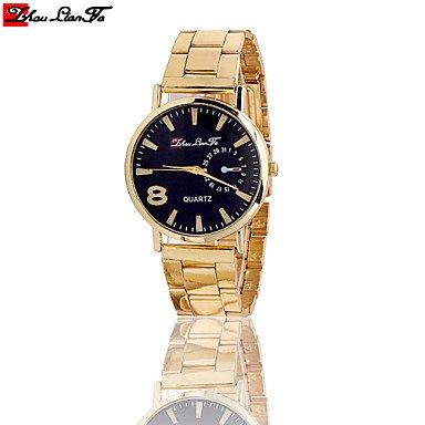 Belles montres, 8 montres de qualité Hommes Femmes marque de luxe montre à quartz de montres-bracelets de mode neutres ( Couleur : Or , Taille : Taille Unique )
