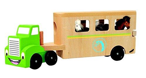 Woodyland 30,5 x 16 x 7 cm Didácticos Juguetes camión con el remolque de caballos (4 piezas)