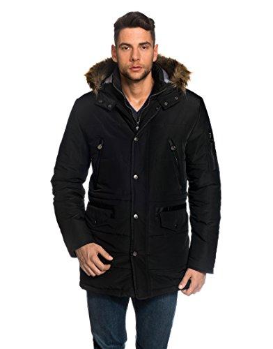 VB Parka cappotto invernale da uomo, con colletto, cappuccio, pelliccia ecologica, vita coulisse nero M