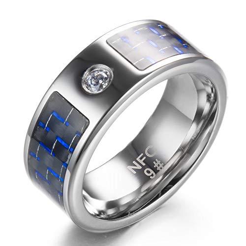 WEII NFC Smart Ring Digital Smart Ring Kohlefaser Diamant Titan Ring,Bild,Nr.7