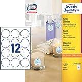 AVERY Zweckform Etiketten Inkjet/Laser/Kopier rund 60mm weiß VE=1200 Stück