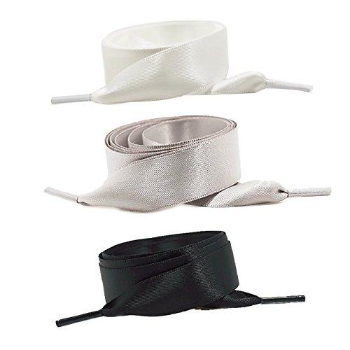 Chris.W 3-Paar 100/140Satinband Schnürsenkel Flache Schnürsenkel für Sneakers, 2cm Breite (Schwarz/Weiß/Grau), Schwarz/Weiß/Grau, 39In/100cm (Nike Canvas Sneakers Frauen)