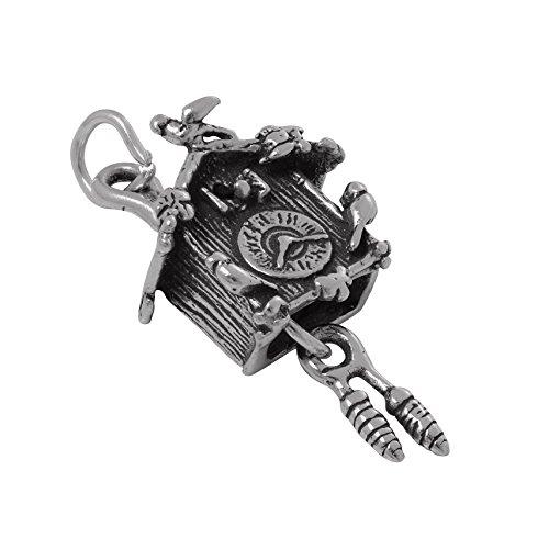 TheCharmWorks Sterlingsilber 3D Kuckucksuhr Charmanhänger | Sterling Silver 3D Cuckoo Clock Charm