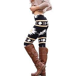 HARRYSTORE Mujer geométrica impresión Leggings elásticos y fashionales Mujer Pantalones elásticos y ajustados mujer Pantalones calientes de invierno Secado rápido (S, Negro)