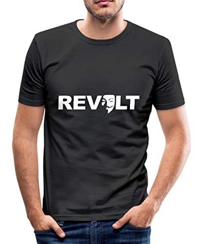 Spreadshirt Revolt Guy Fawkes Maske Männer Slim Fit T-Shirt, L, Schwarz