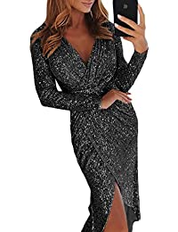 aaf4e38b Dearlove Womens Long Sleeves V-Neck Sequins Bodycon Slit Club Party Wrap  Dress S-