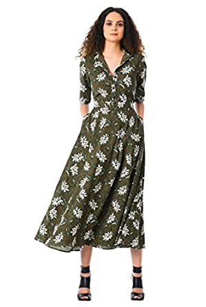 55c3ec2c3805 eShakti Women's Floral print cotton belted midi shirtdress UK Size 38W/Tall  height Olive/