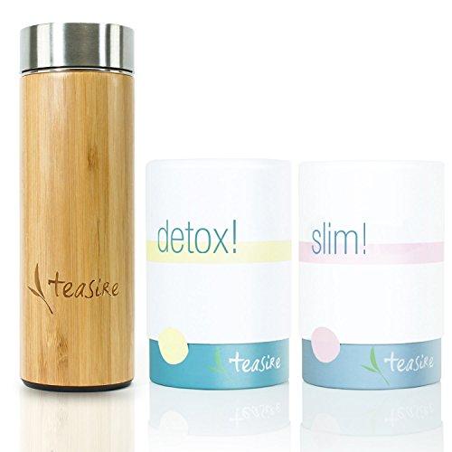 Teasire Body Kur To-Go inkl. Bambus Thermobecher (300 ml) – Das leckere gesunde Kräutertee-Set enthält 2 Sorten: Slim! und Detox! – bio & vegan, 2x50g