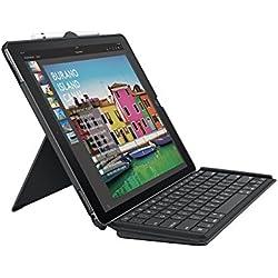 Logitech Slim Combo pour iPad Pro 12,9 pouces (1e et 2e génération) Étui Clavier, Slim Combo avec Clavier Rétroéclairé Détachable sans fil et Smart Connector (Clavier Française AZERTY, Noir)