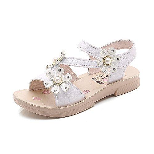 MINBEI Kleinkind Wenig Mädchen Sandalen Sommer Schuhe Etikettengröße 36 = 34.5 EU 1-Weiß - Kleinkind Mädchen Sandale