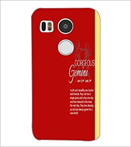 PrintDhaba Sunsign Gemini D-1236 Back Case Cover for LG NEXUS 5X (Multi-Coloured)