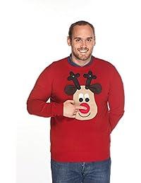 Woolly Babs Men's Christmas Jumper Rudolph Reindeer Roundneck Beige Face