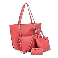 Hot Sale ! Clearance JYC Ladies Women 4Pcs Women Pattern Leather Shoulder Bag+Crossbody Bag+Handbag+Wallet Long Strap Shoulder Bag,bag with strap women