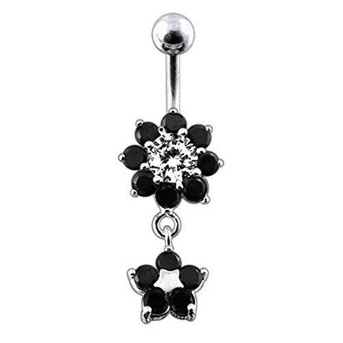 Bijou de Corps Anneau de nombril Argent Sterling 925 motif Fleur en pierres pendant Black