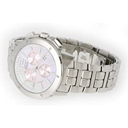 R&Co Women's Quartz Watch with Pink Dial Chronograph Display and Silver Stainless Steel Bracelet RLB00001/40/07