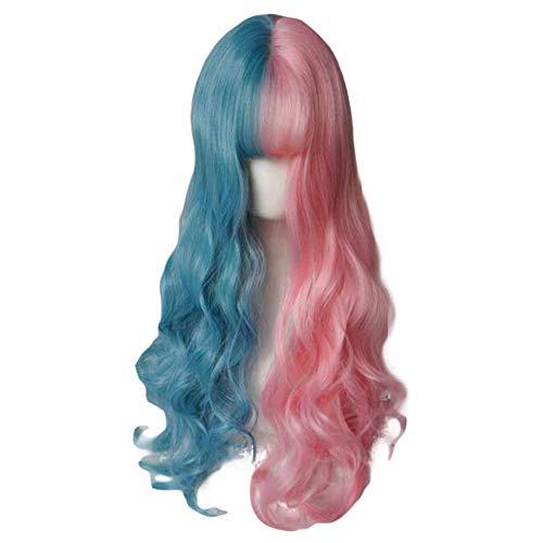 65 cm Rose/Bleu longue perruque synthétique vague bouclée cheveux perruque cosplay costume pleine