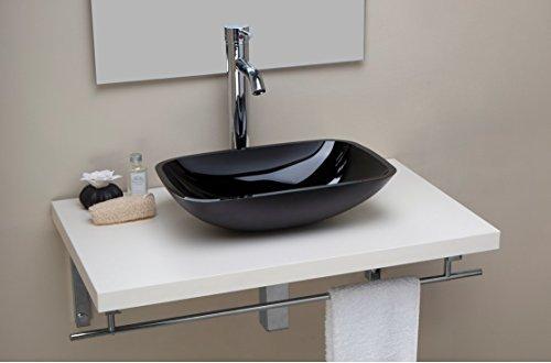 Lavabo/lavandino/soprapiano bagno d'appoggio in vetro di colore nero rettangolare cm 45