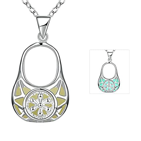 AnaZoz Fashion Jewelry Silver Plated Necklace Women's Handbag Can Shape Cyan Glow in the Dark Luminous Necklace For Girls and
