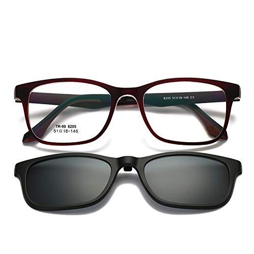 LKVNHP New Hohe Qualität Clip Auf Myopie Sonnenbrille Männer Frauen Fahren Polarisierte Sonnengläser Tr90 Brillenfassungen Blendschutz Uv400 Getönte BrilleBraunen Rahmen