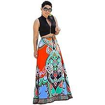 falda mujer Sannysis maxi vestidos largo, Imprimir tradicional africana, Tamaño libre