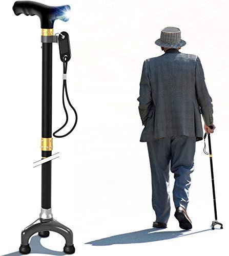 Travel canne e bastoni da passeggio regolabile per uomini e donne con luce LED e impugnatura morbida per artrite anziani disabili e anziani Best Mobility Aids cane (WalkCaneLed-Black)