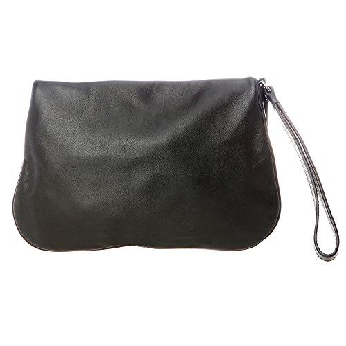 Trussardi Jeans - Pochette Femme en cuir véritable - 56B018J043 Noir