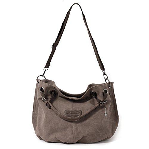 Bag Street–Canvas Borsetta Borsa da donna alla moda in cotone 4530, marrone (grigio) - 4530 marrone