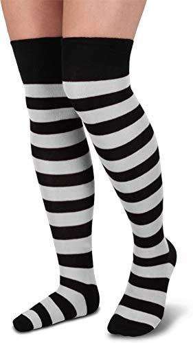 ifte Overknee Strümpfe - Knistrümpfe bis übers Knie - bunt geringet Farbe Schwarz/Weiß ()