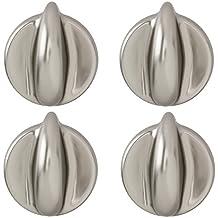 Spares2go perilla de Control Universal para todas las marcas y modelos de hornos y fuegos (plata/cromo, paquete de 1, 2, 3, 4, 5 o 6) Pack Quantity: 4