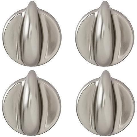 Spares2go perilla de Control Universal para todas las marcas y modelos de hornos y fuegos (plata/cromo, paquete de 1, 2, 3, 4o 6) Pack Quantity: