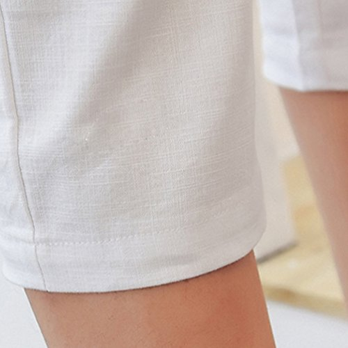 YiLianDa Donna Casuale Elasticità Matita Pantaloni Capri Slim Taglia Pantaloncini Bianco
