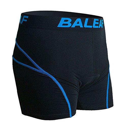 Baleaf Herren Radunterhose mit Sitzpolster Fahrrad Unterwäsche Pro Bike Boxer mit Gummibund Blau Größe L (Bike Shorts Boxer)