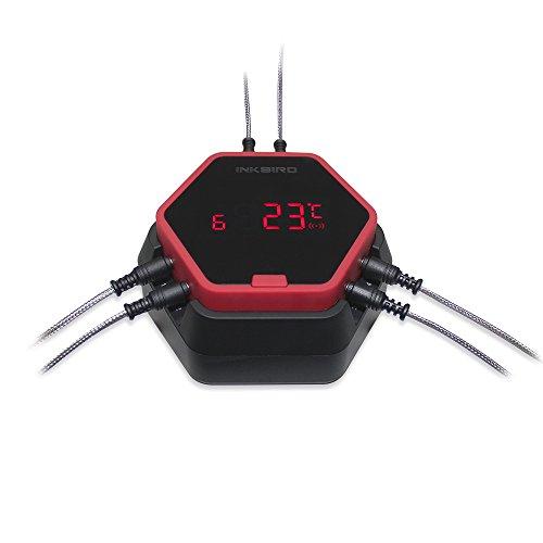 Inkbird IBT-6X Edelstahldraht Barbecue Ofenthermometer mit Bluetooth Grill Smoker BBQ Kochen Thermometer + Fleisch Temperaturfühlern für iPhone Android Smartphone (IBT-6X+6 Barbequefühler, Rot)