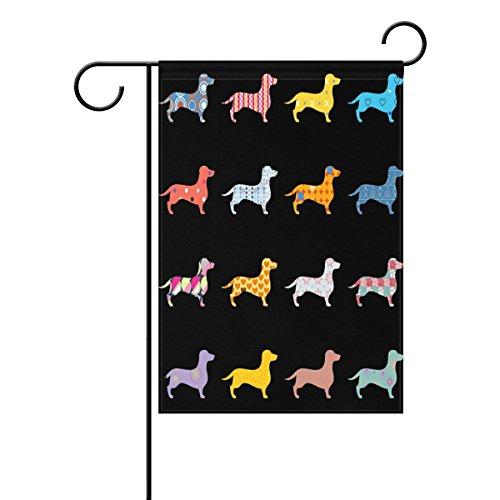 wozo Lovely Hunde Dackel Garten-Flagge Cute Puppy schwarz Polyester im Flagge Home Party, Polyester, multi, 12