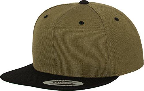 Yupoong Flexfit Unisex Kappe Classic Snapback 2-Tone, zweifarbige blanko Cap mit geradem Schirm, One Size Einheitsgröße für Männer und Frauen, Farbe olv/blk (Schwarze Baseball-mütze-verstellbar)