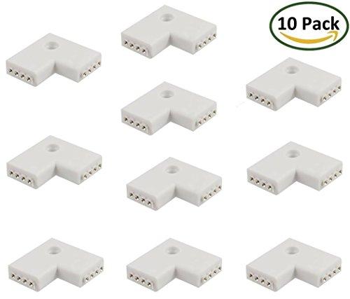 LitaElek 4 pin del connettore striscia di LED connettore L-forma adattatore del connettore ad angolo retto per luce di striscia di SMD 5050 2835 3528 RGB LED Strip (10 pezzi) - Stagno Striscia