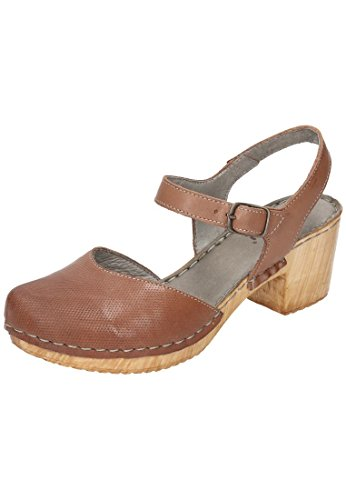 Manitu 920219 Damen Geschlossene Sandalen mit Blockabsatz Braun