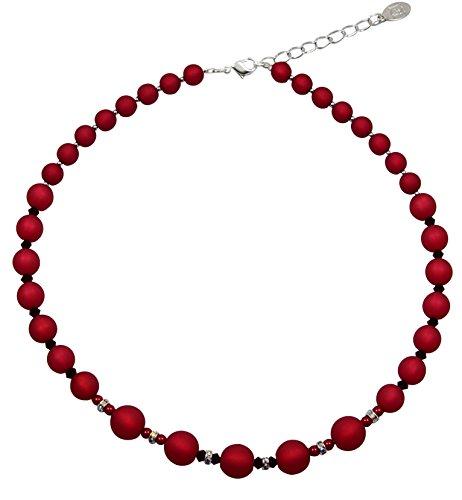 Halskette aus echten Polarisperlen ca. 45 cm + 4.5 cm PKER1207 mit Swarovski Elements rot