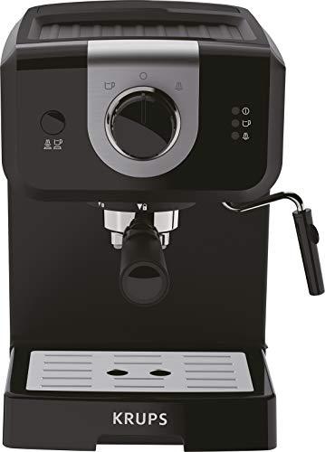 Krups Opio XP320810 Cafetière, 15 bars de pression, chauffe-tasse et mousseur à lait, contrôle rotatif, noir/argent