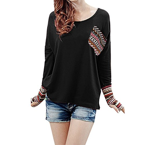 Blase Saum Bluse (Damenbekleidung Bluse JYJM Damen, die beiläufige Daumenloch-Bluse nähen Frauen Patchwork beiläufige lose T-Shirts Bluse Tops mit Daumenlöchern (3XL, Schwarz))
