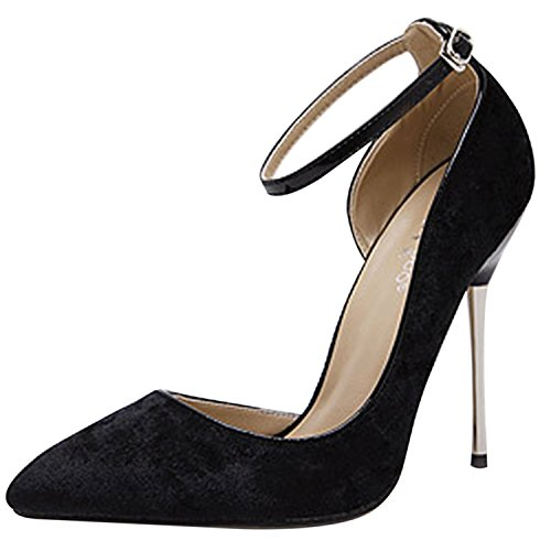 Oasap Women's Pointed Toe Ankle Buckle Stiletto Suede Pumps Black