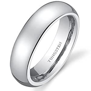 Revoni Classy 5mm Dome Style Womens White Tungsten Wedding Band Ring Size J 1/2, Available in Sizes J to P