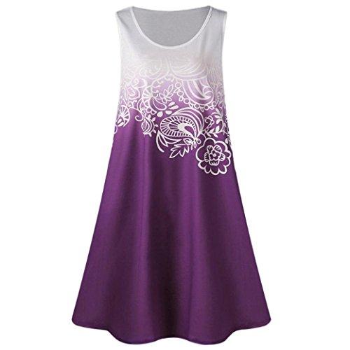 2018 Women's Floral Print Casual Sleeveless A-Line Loose Plus Size T-Shirt Mini Dress Beach Summer Short Dress (Purple, 2XL)