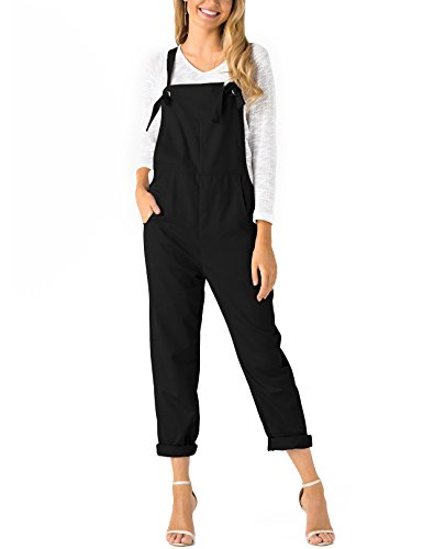 YOINS Women's Retro Loose Overall Baggy Strappy Pocket Sleeveless Dungarees Long Square Neck Jumpsuit Playsuit Romper Bib Trousers Pants