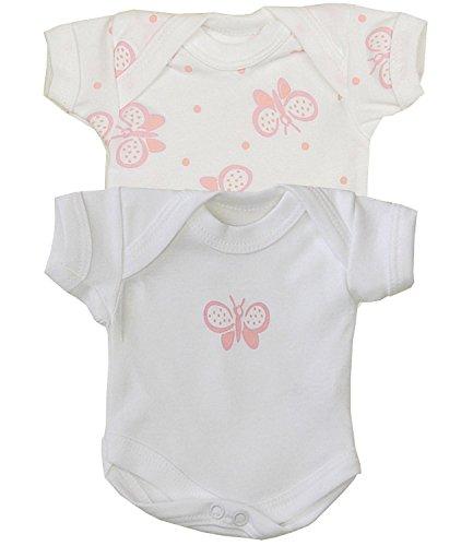 BabyPrem Frühchen Baby Kleidung 2 Bodies Body Mädchen 44-50cm ROSA SCHMETTERLING PREM 3 -